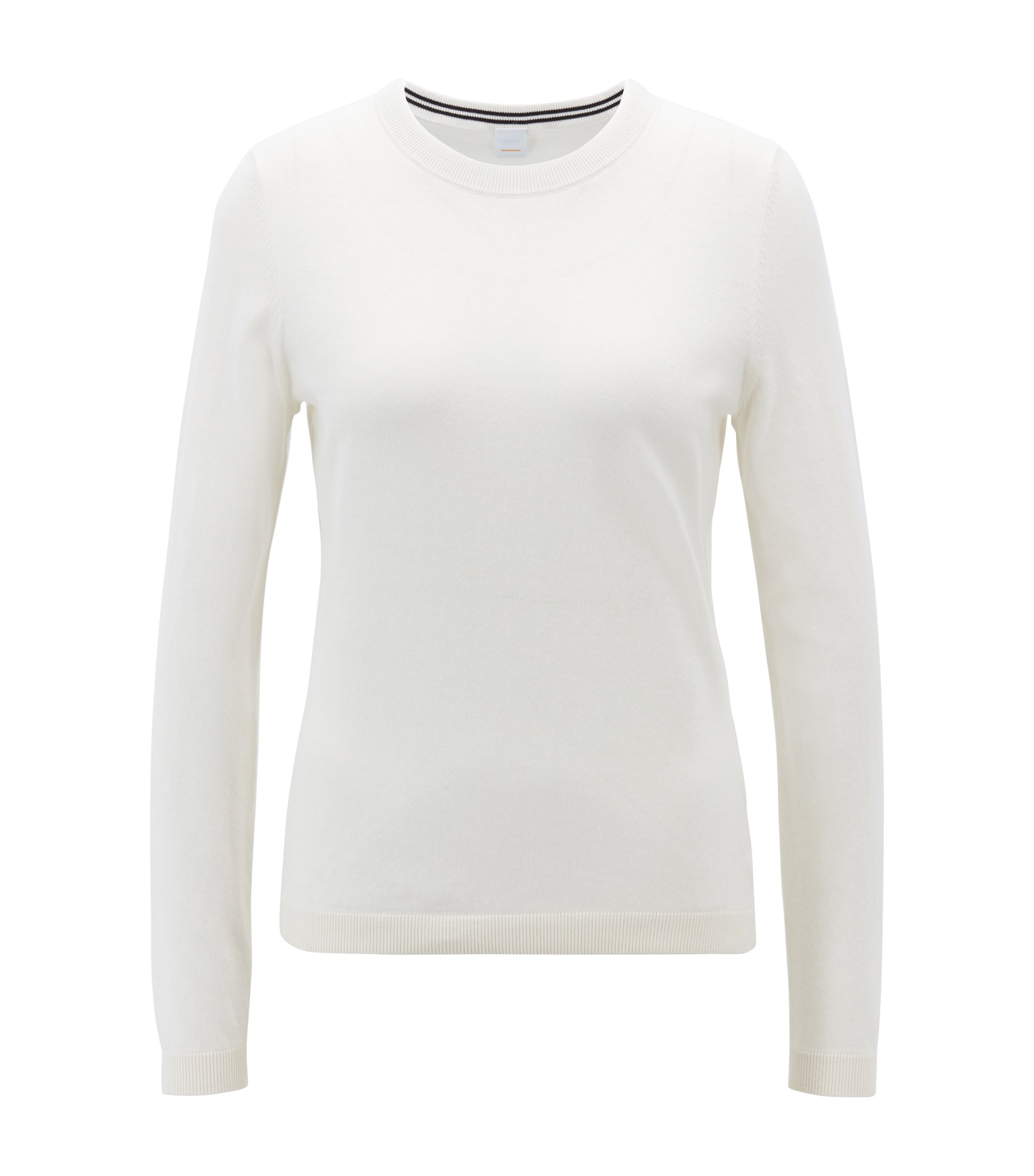 Slim-fit sweater in a premium cotton blend, Natural