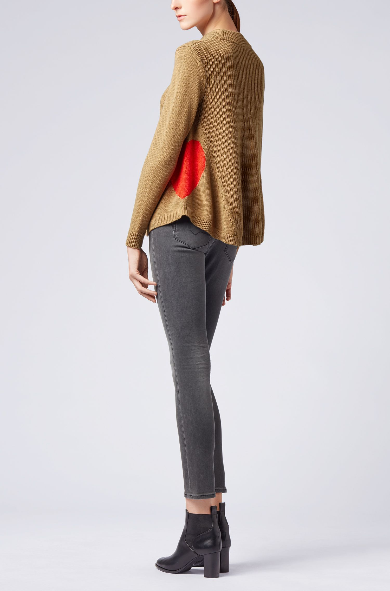 Flared sweater in a wool blend with heart motifs, Light Brown