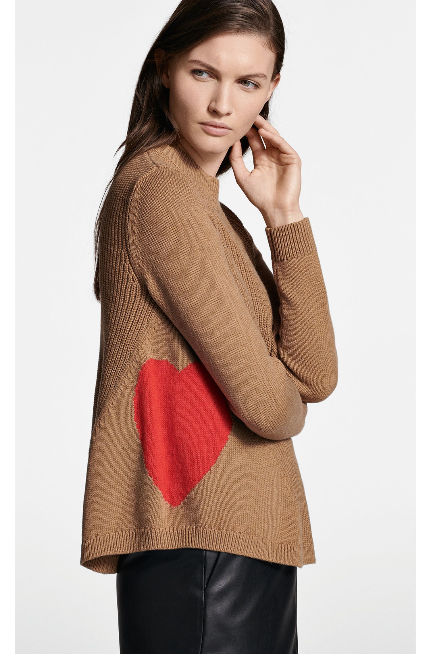 Pull évasé en laine mélangée, avec motifs cœur, Brun chiné
