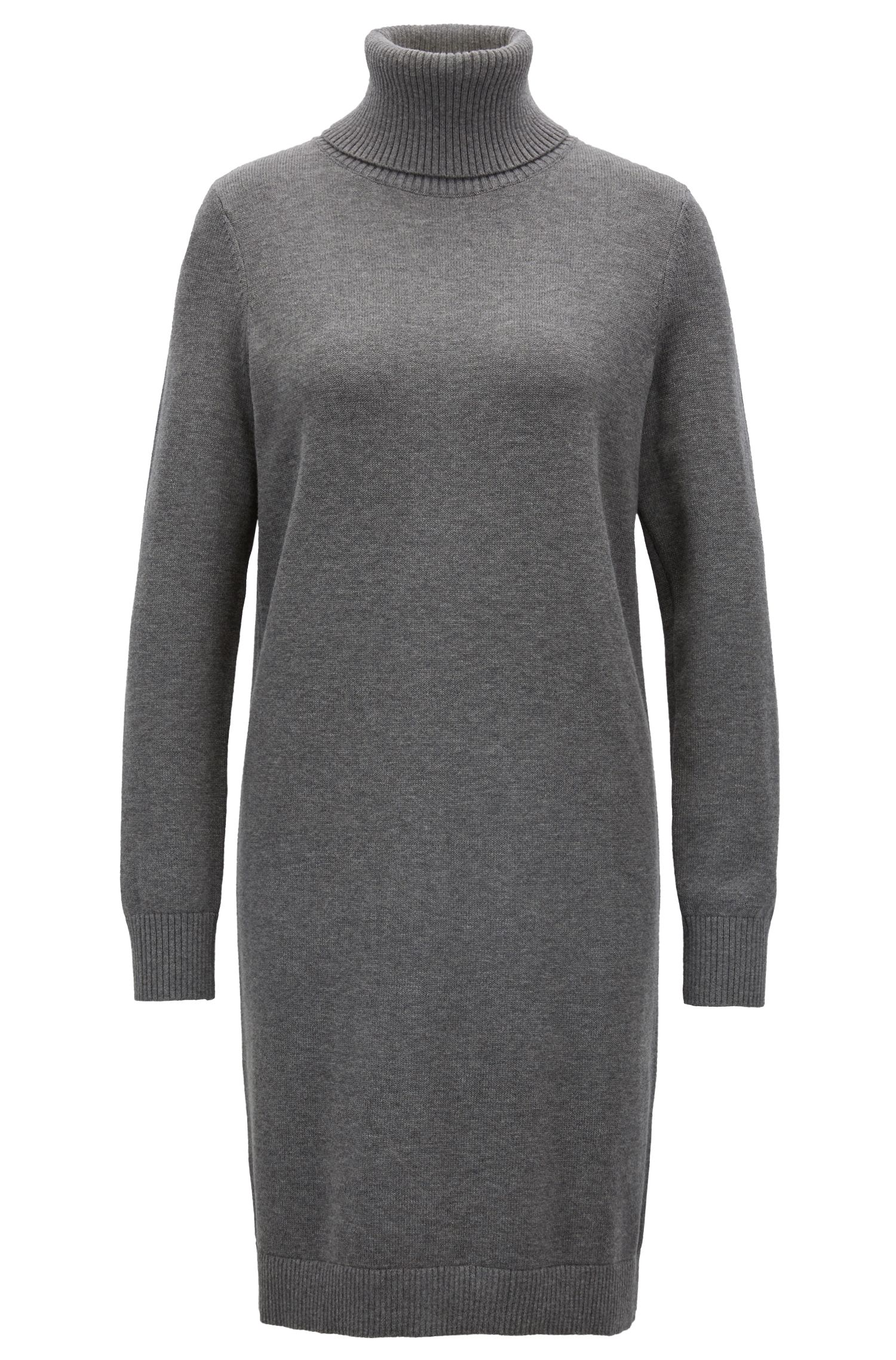 Roll-neck sweater dress in a virgin wool-cotton blend, Anthracite