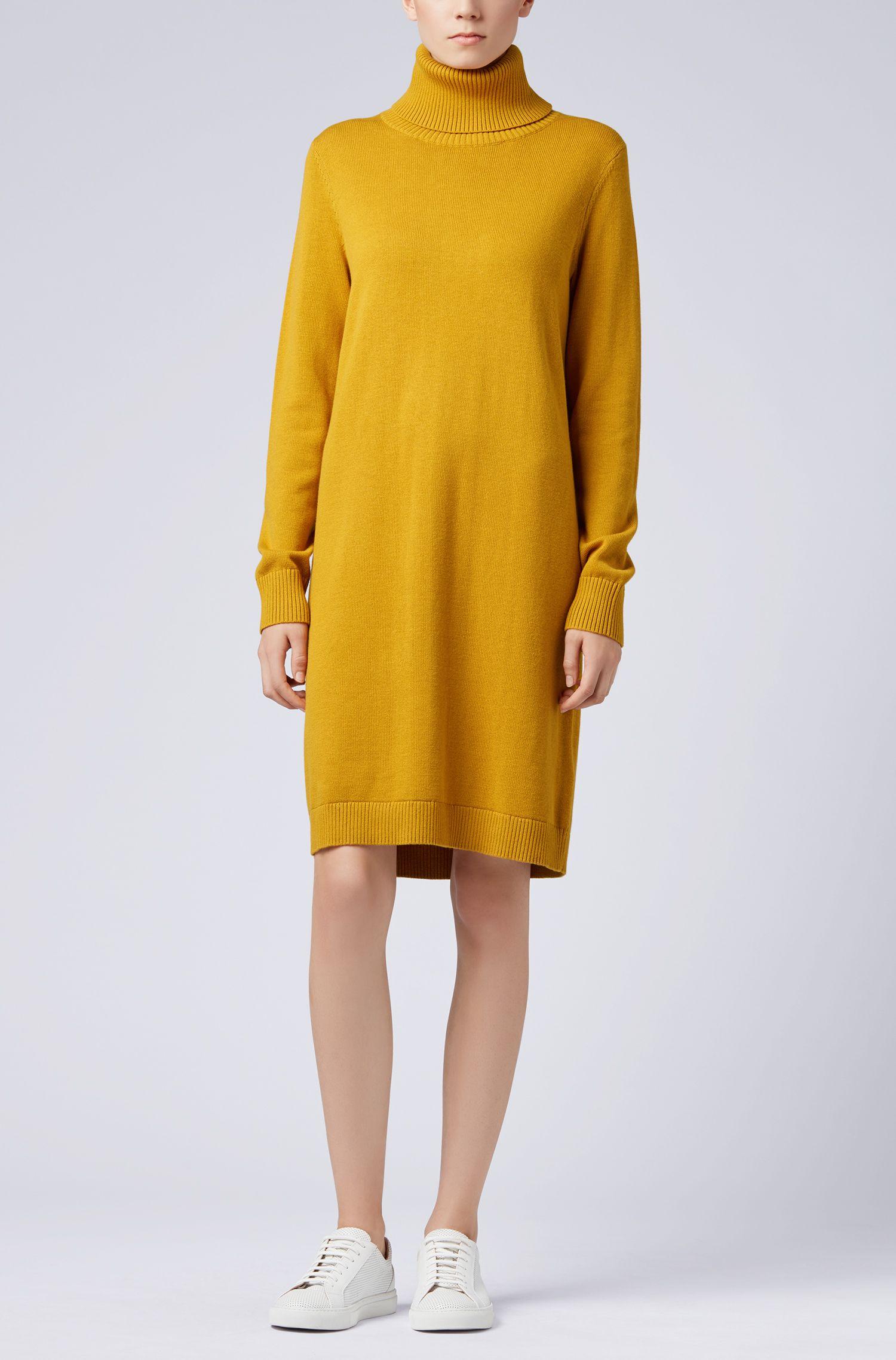 Vestito in stile maglione con collo alto in misto lana vergine e cotone, Oro