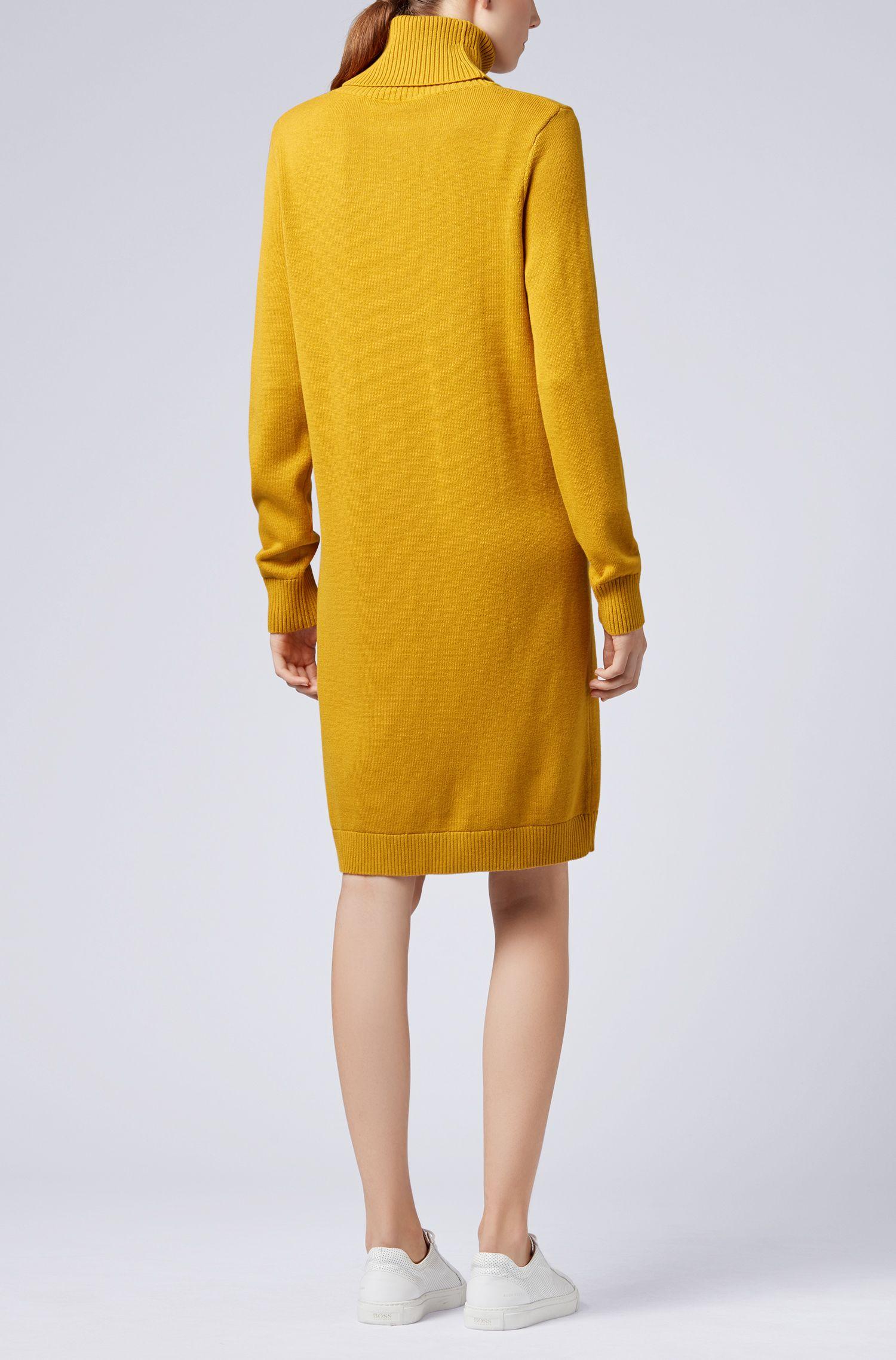 Robe pull à col roulé en coton et laine vierge, Or
