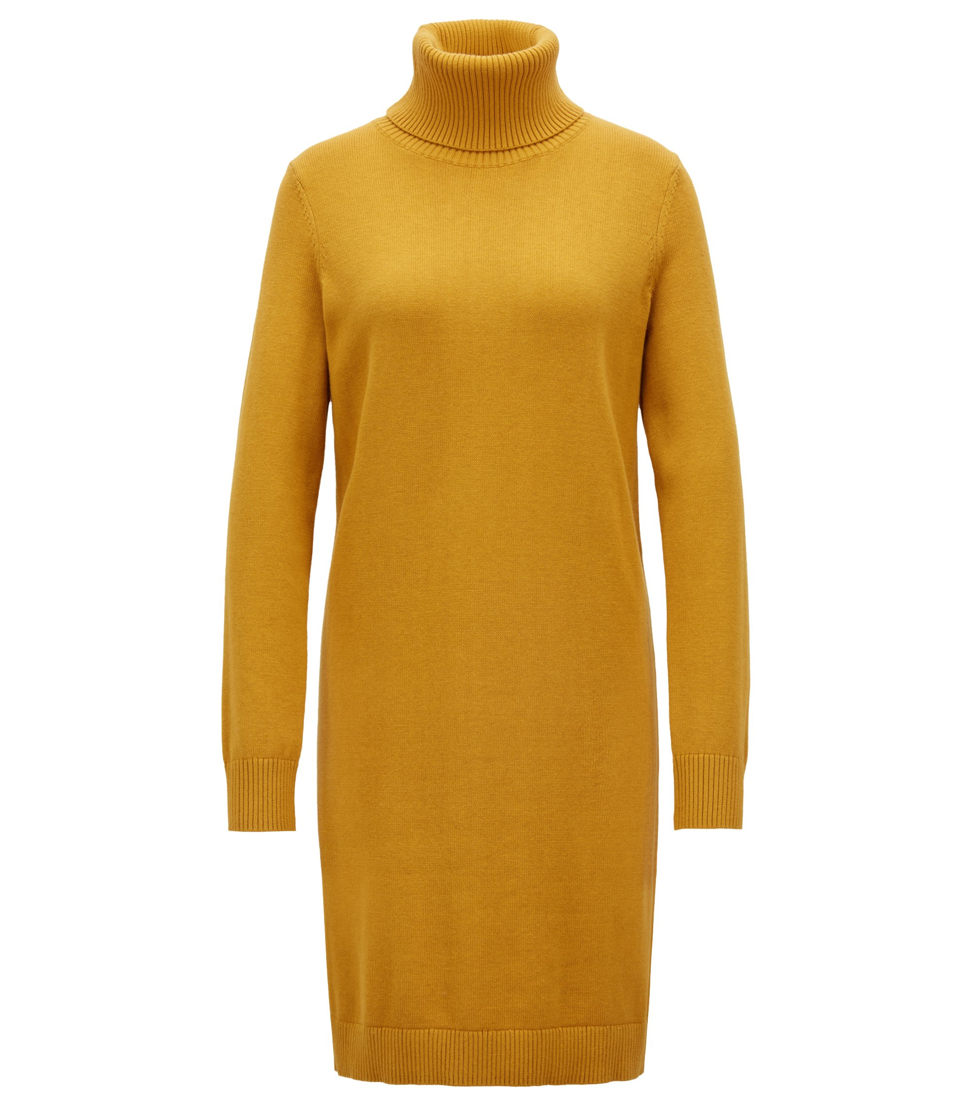 Roll-neck sweater dress in a virgin wool-cotton blend, Gold