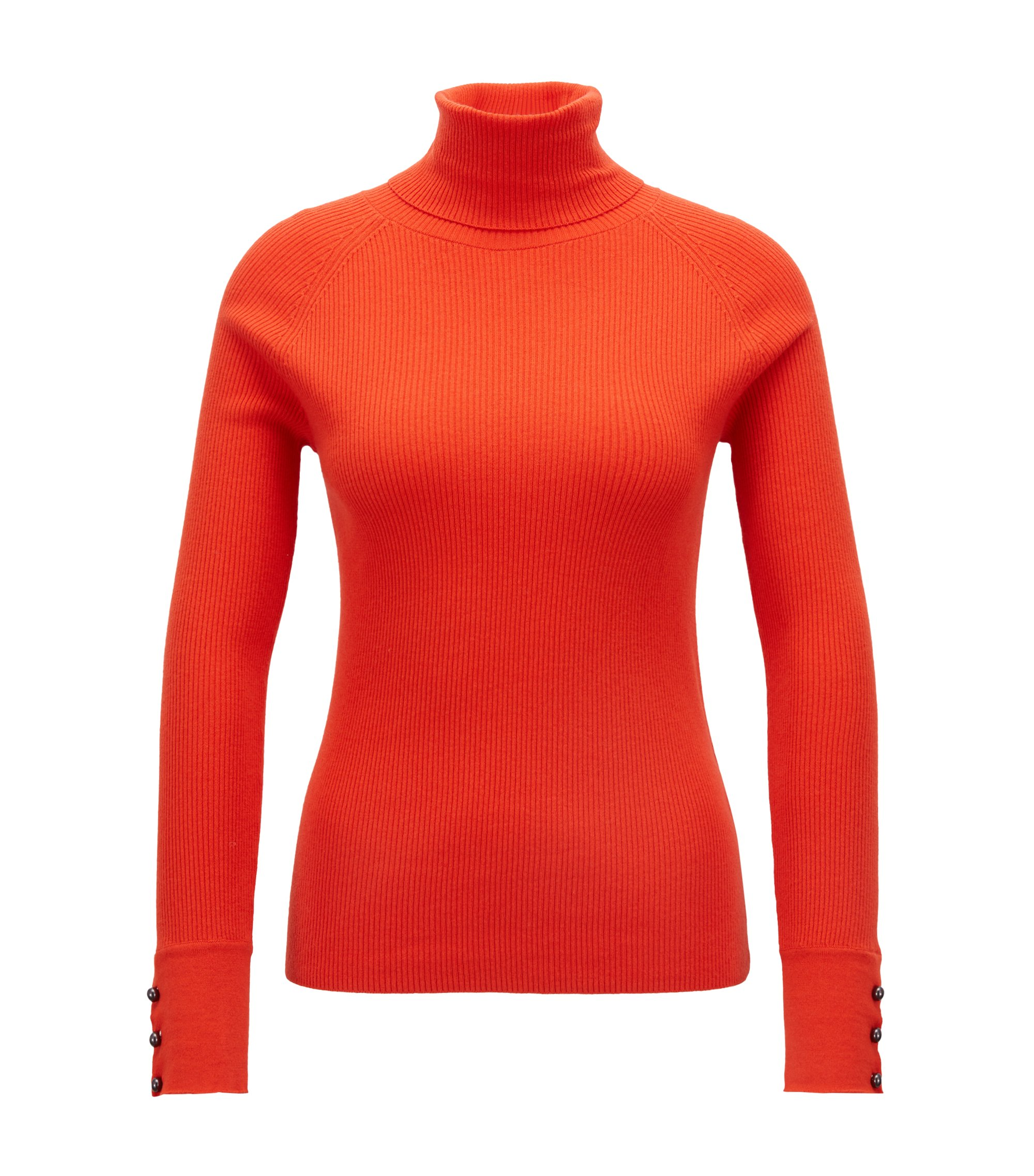 Slim-fit roll-neck sweater with buttoned cuffs, Red