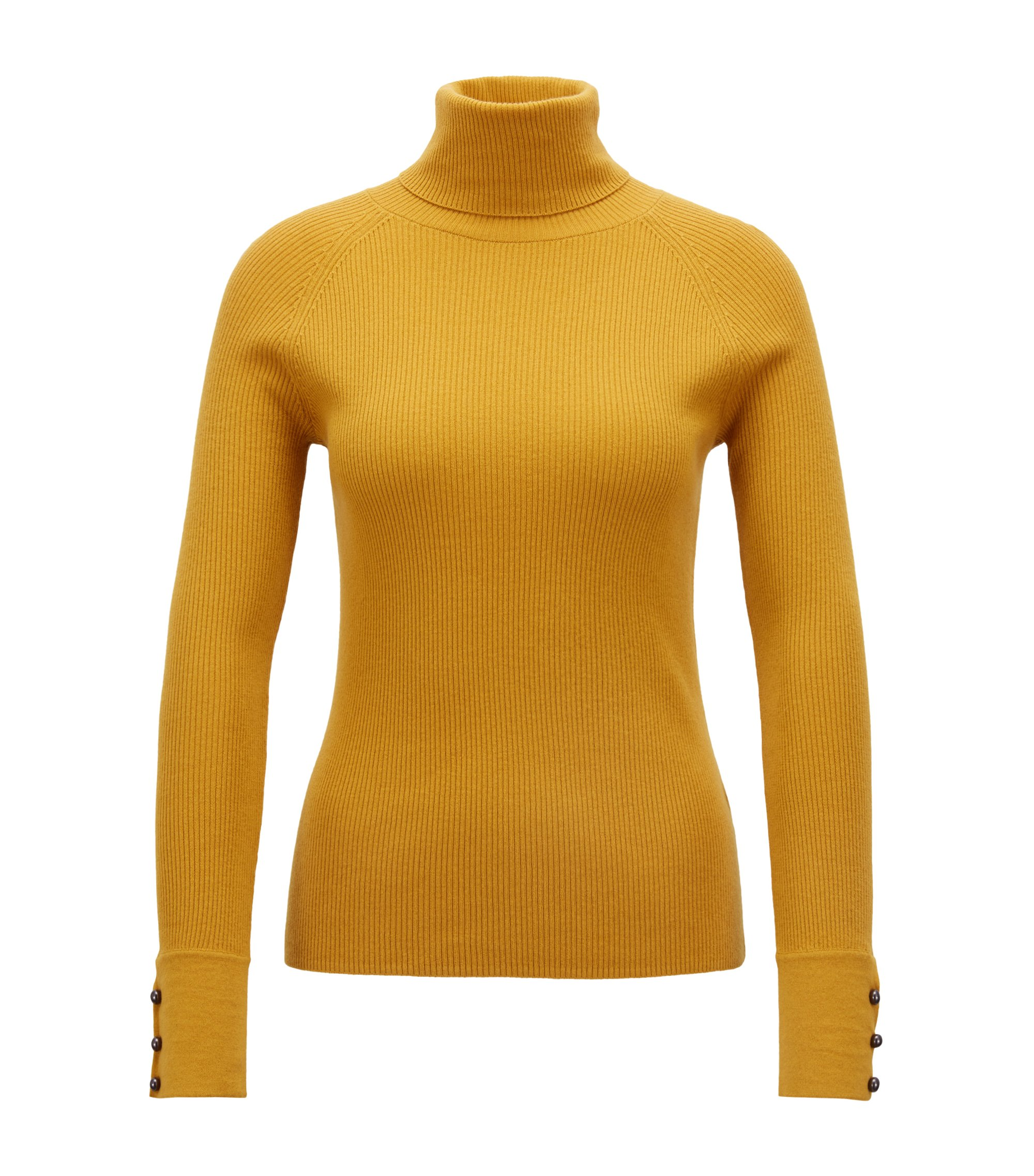 Slim-fit roll-neck sweater with buttoned cuffs, Gold