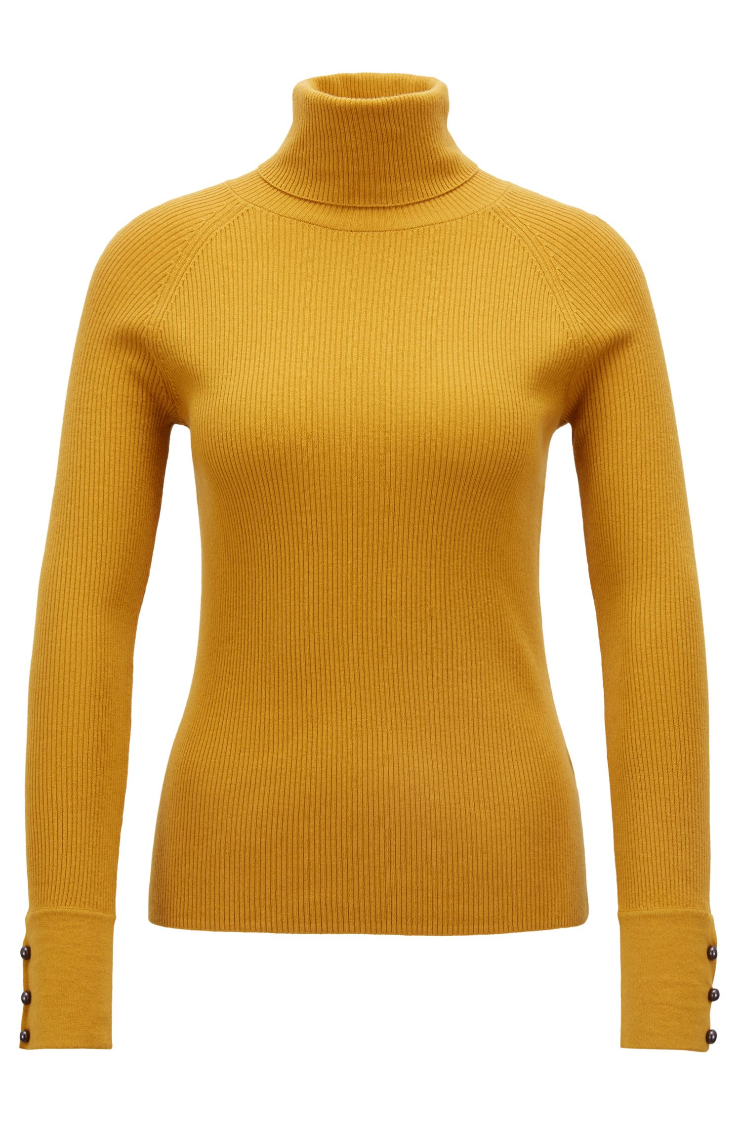 Slim-fit roll-neck sweater with buttoned cuffs