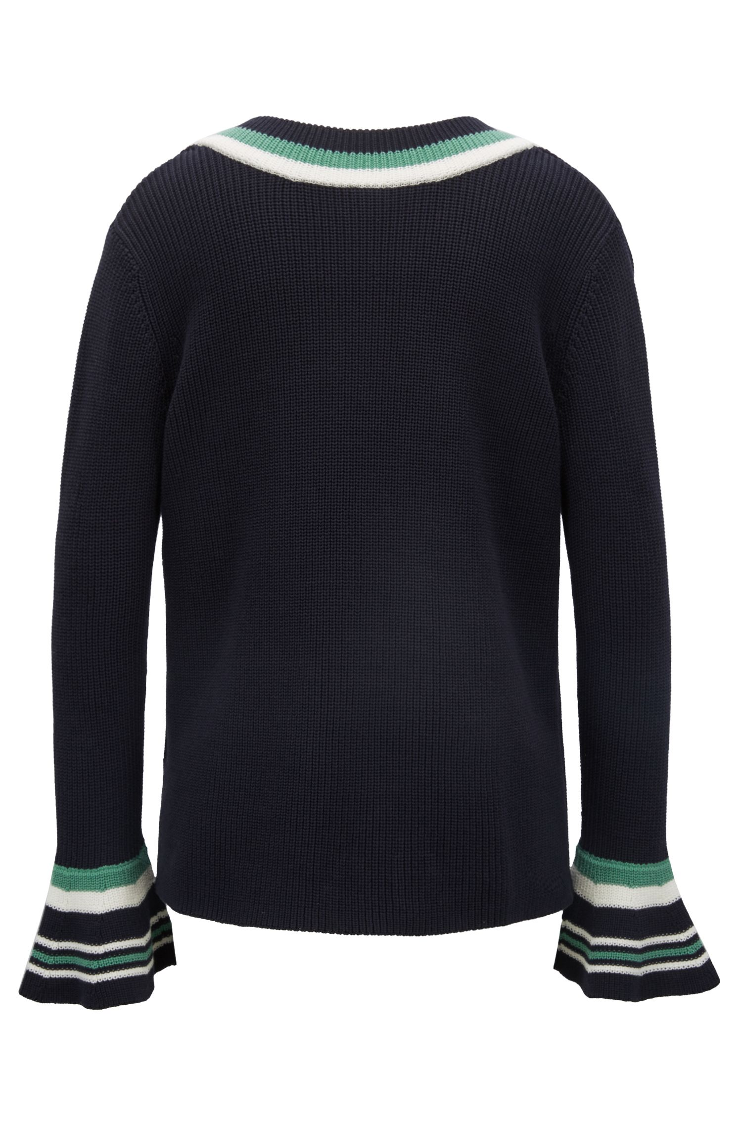 V-neck sweater in cotton with contrast stripes, Dark Blue