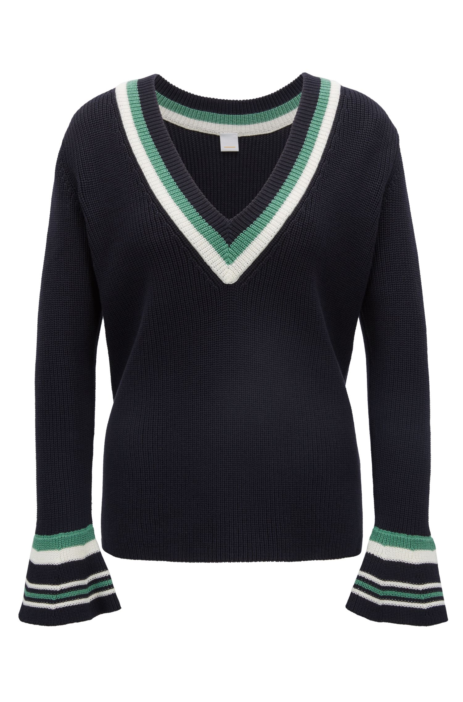 V-neck sweater in cotton with contrast stripes