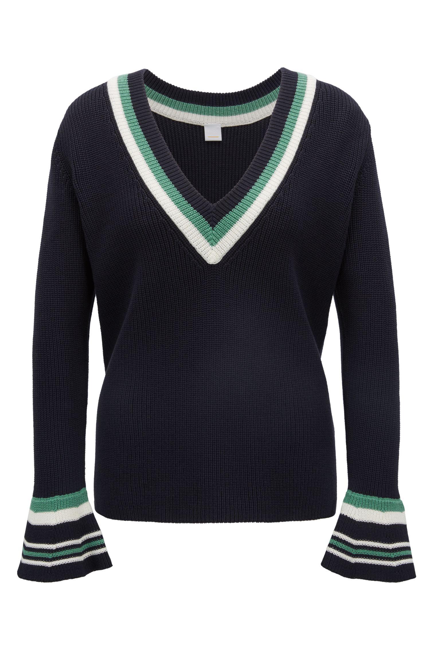 Baumwoll-Pullover mit V-Ausschnitt und kontrastfarbenem Streifen-Dessin, Dunkelblau