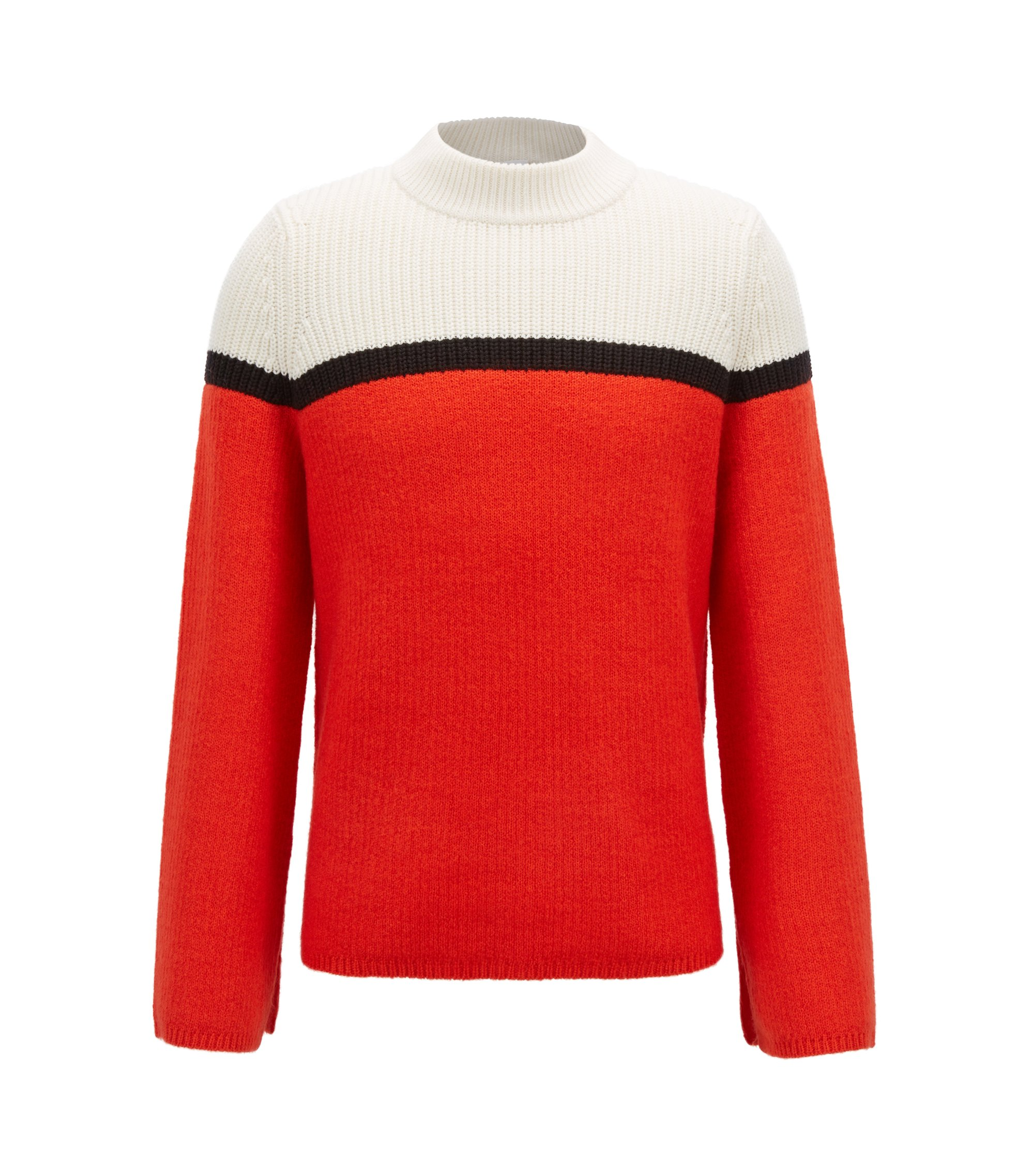 Block-stripe turtleneck sweater in mixed structures, Red