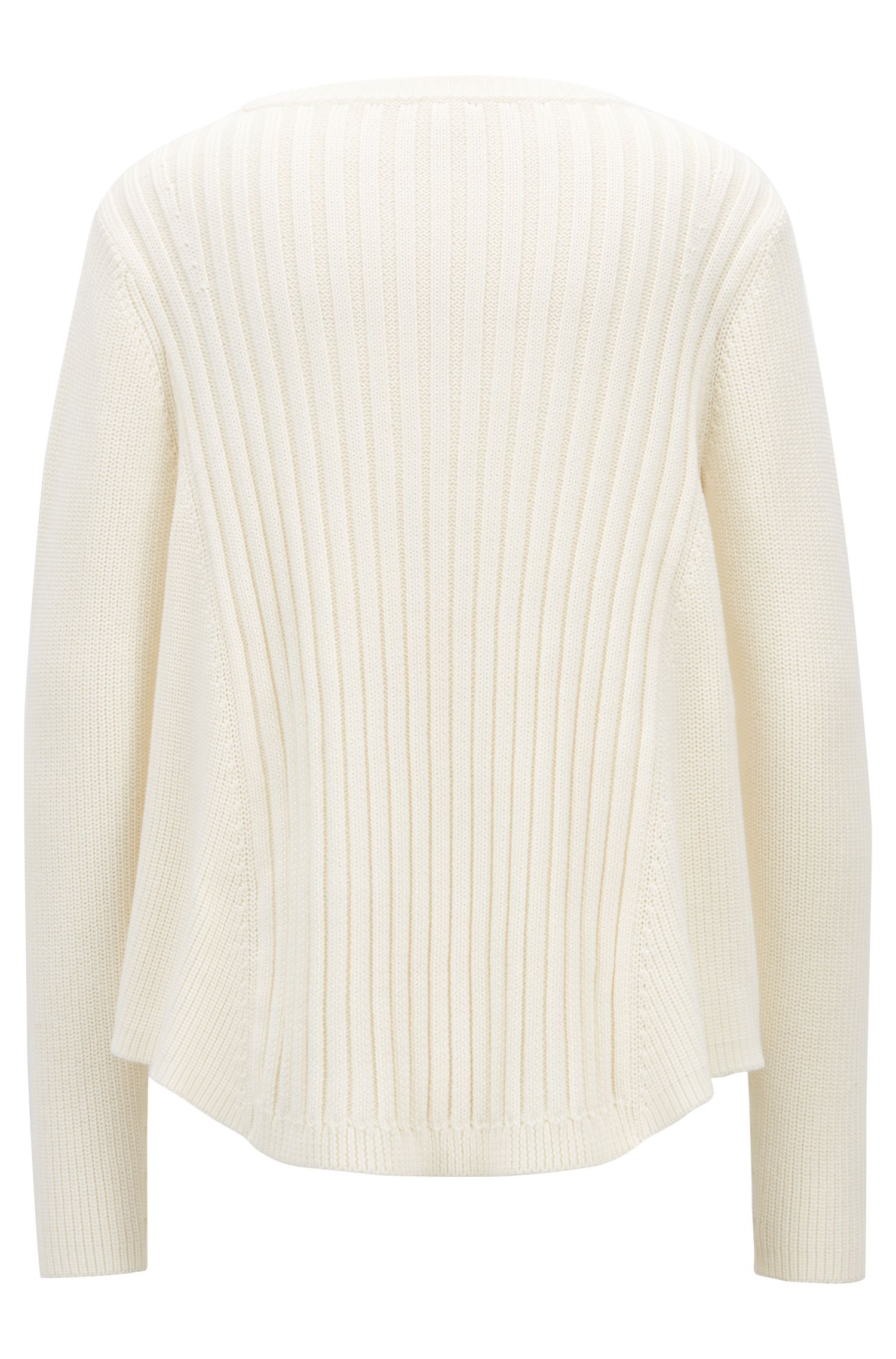 Flared crew-neck sweater in cotton with mixed structures, Natural