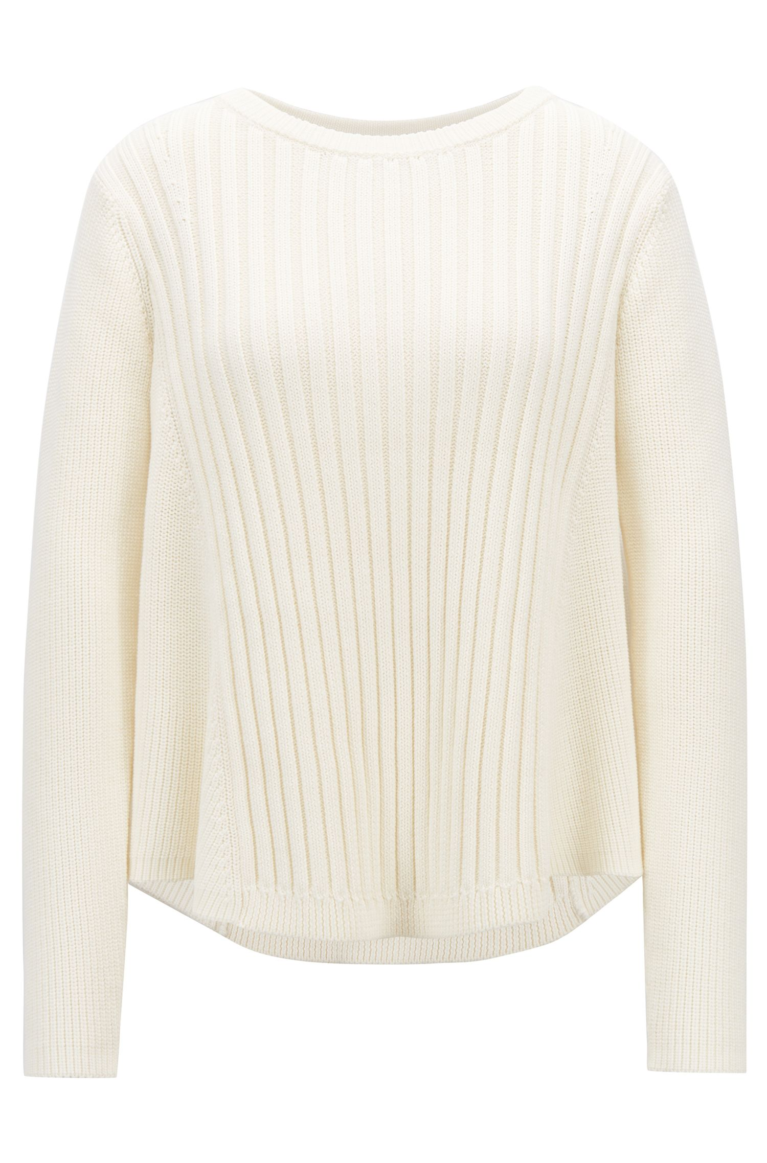 Flared crew-neck sweater in cotton with mixed structures