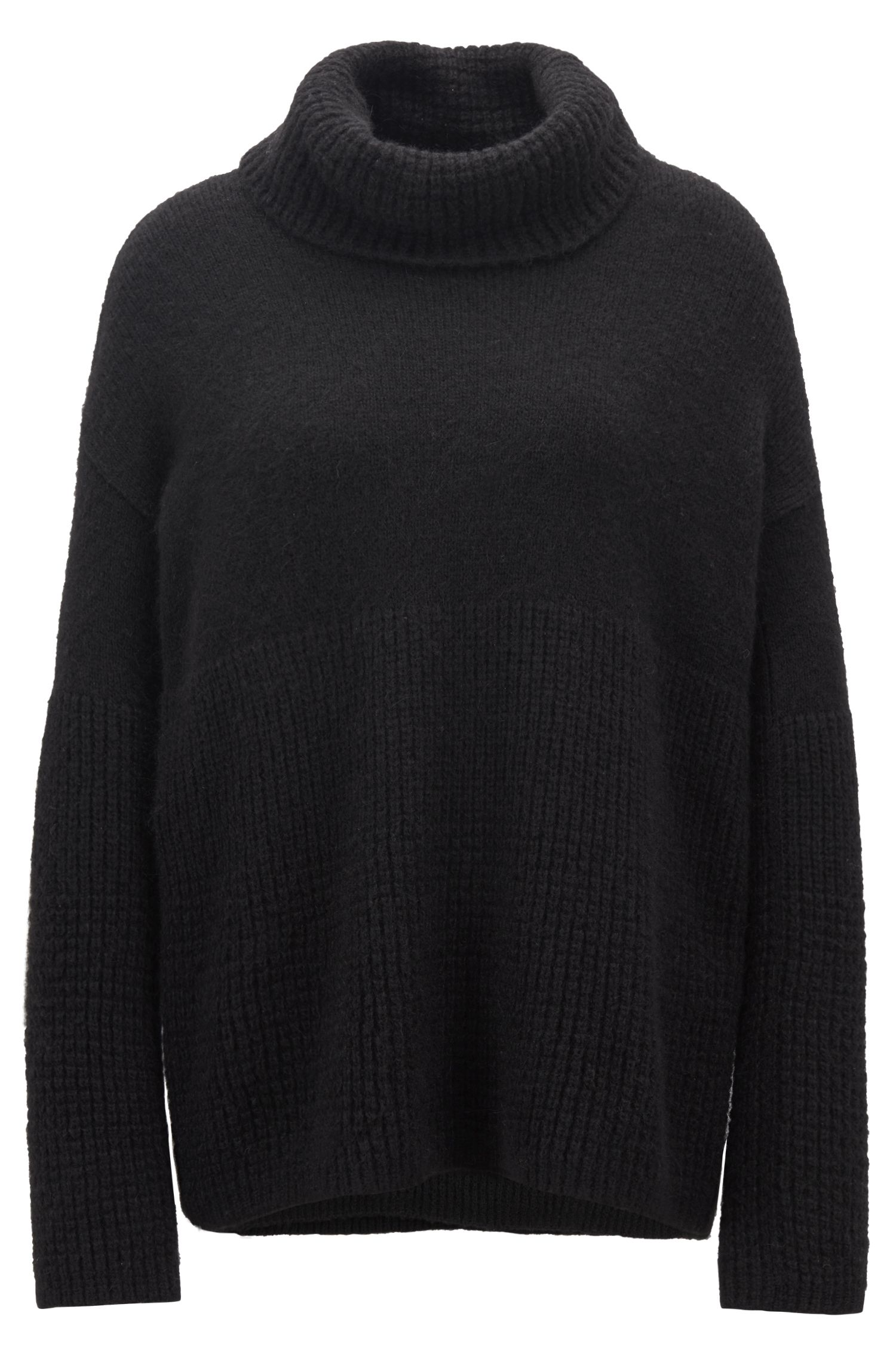 Relaxed-fit sweater with chunky roll neckline, Black