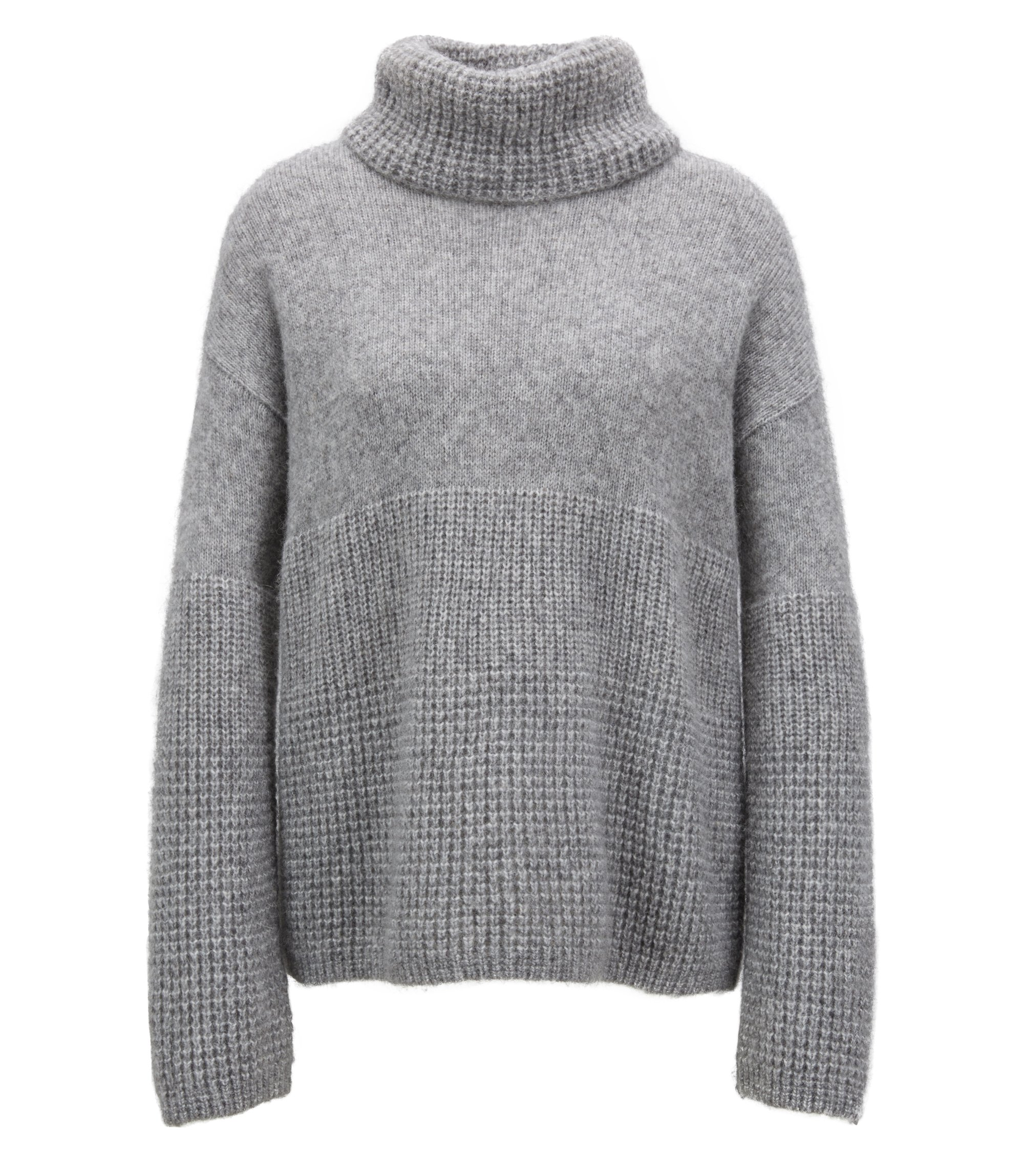 Relaxed-fit sweater with chunky roll neckline, Grey