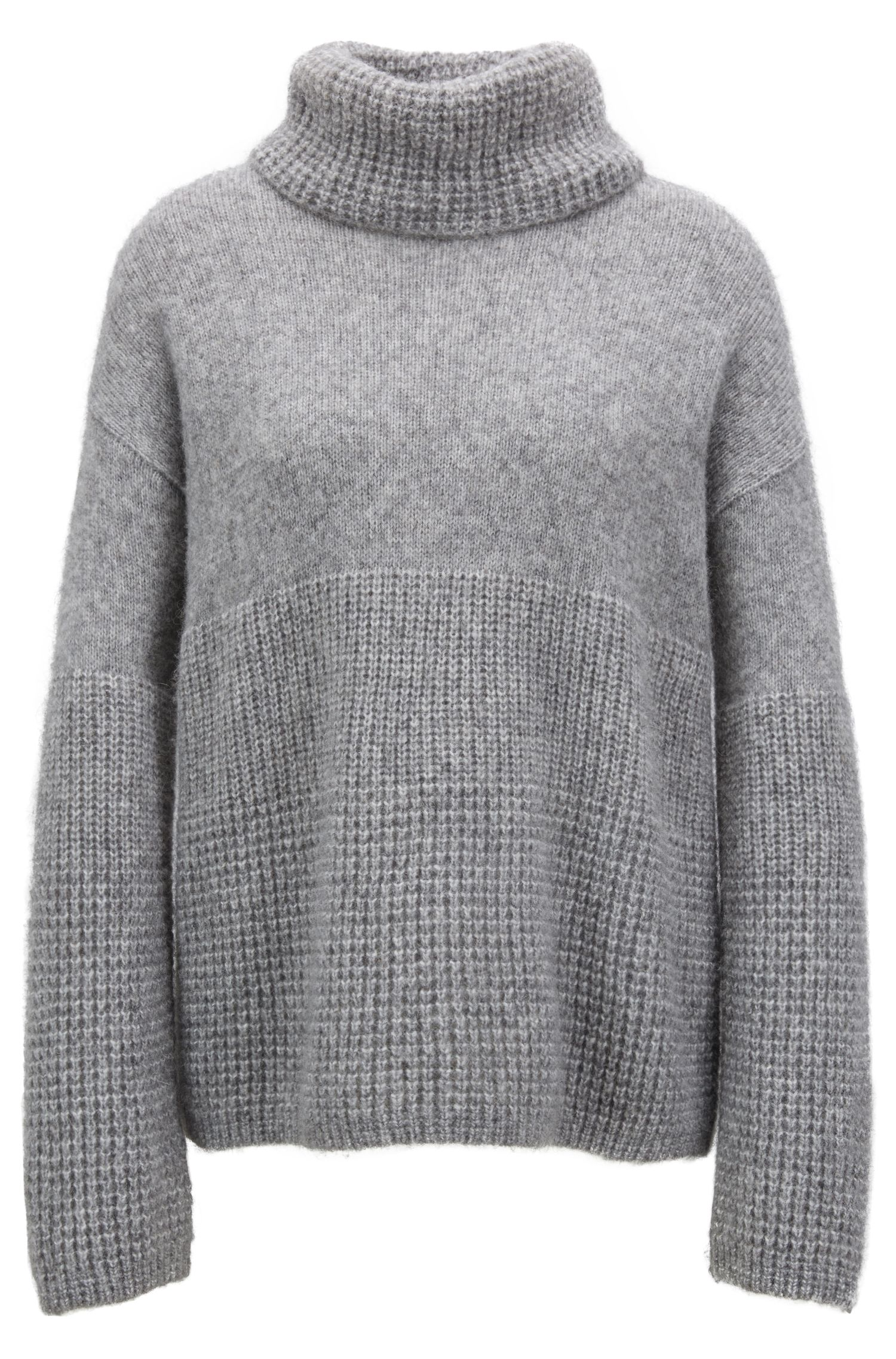 Pull Relaxed Fit à gros col roulé, Gris