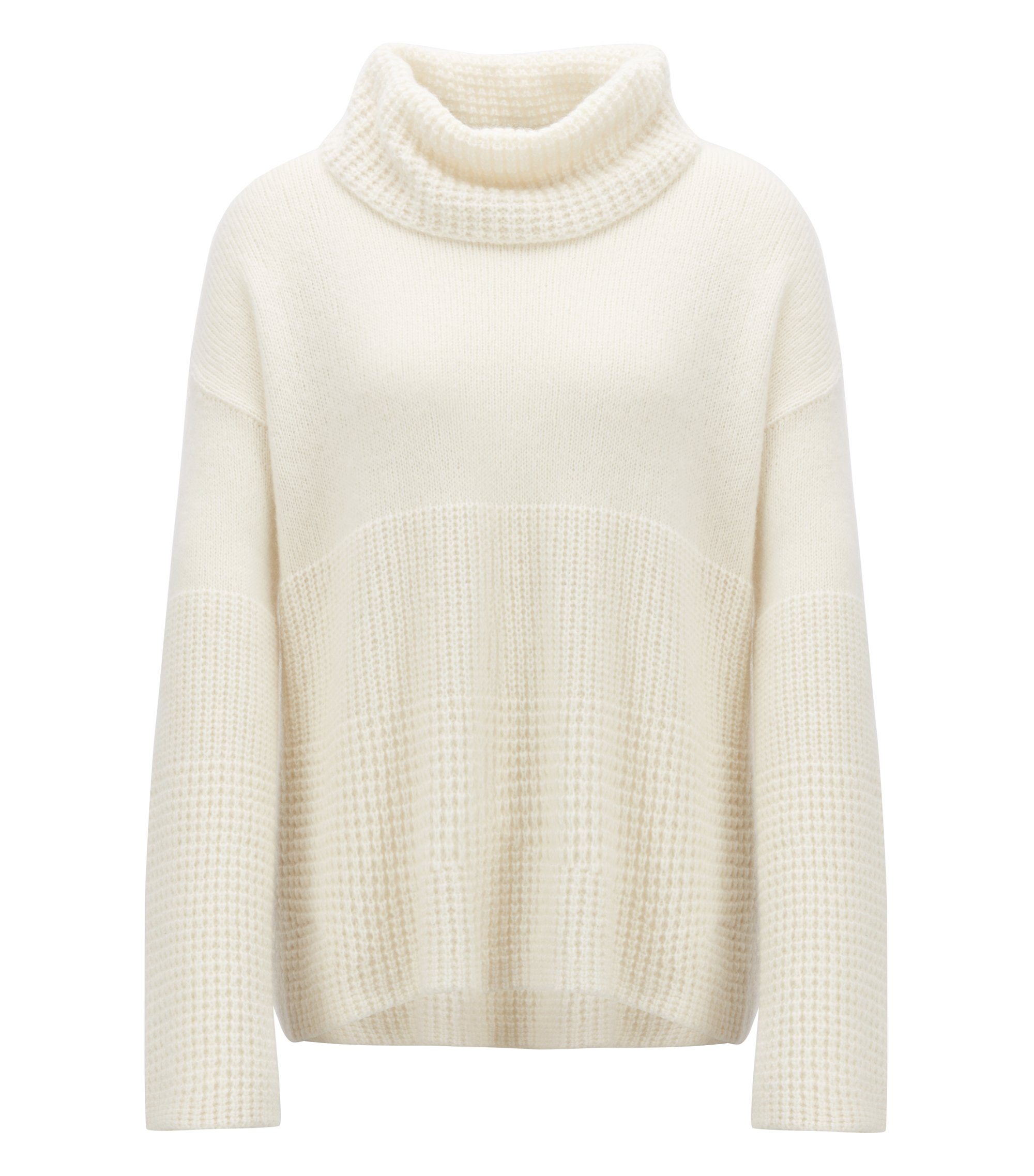 Relaxed-fit sweater with chunky roll neckline, Natural