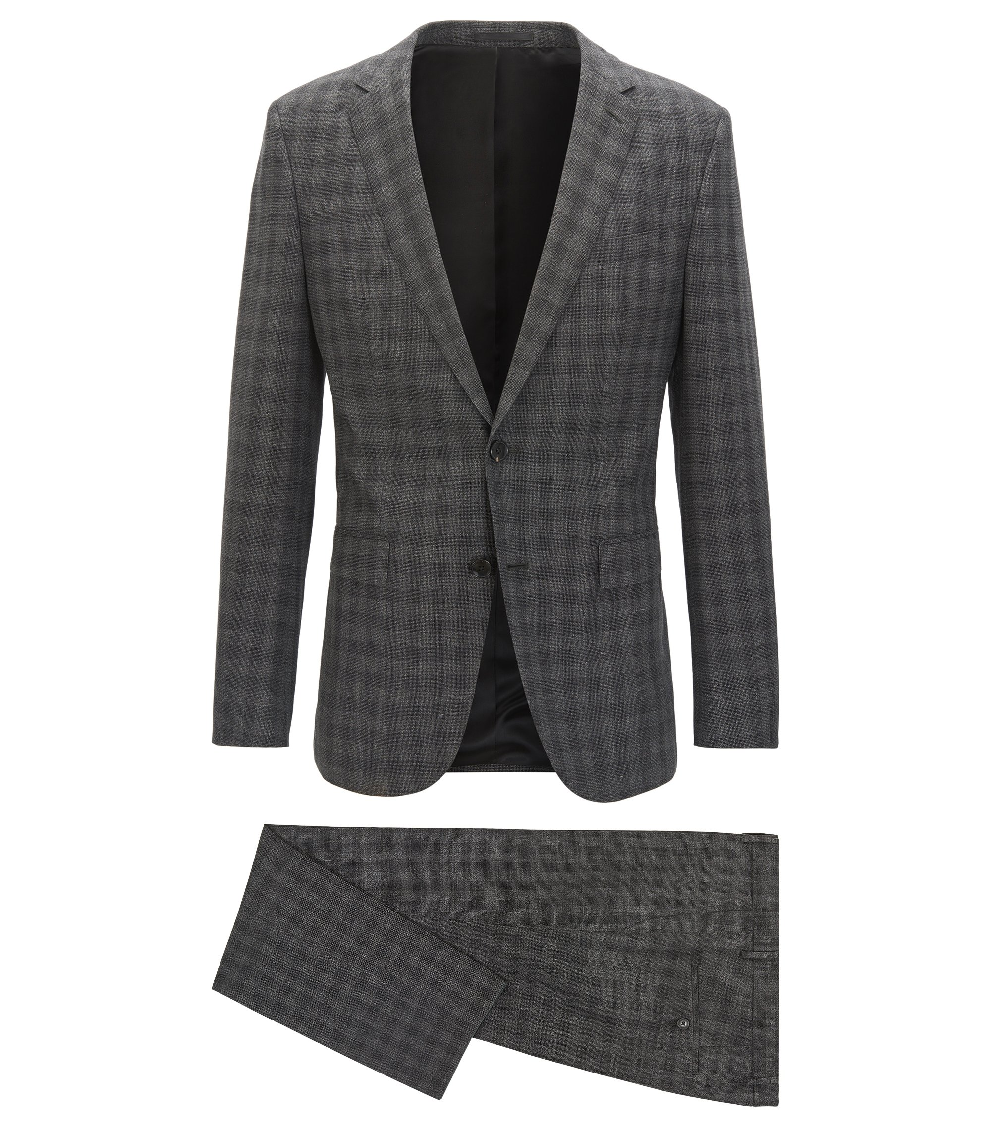 Slim-fit suit in a virgin wool-blend check, Anthracite