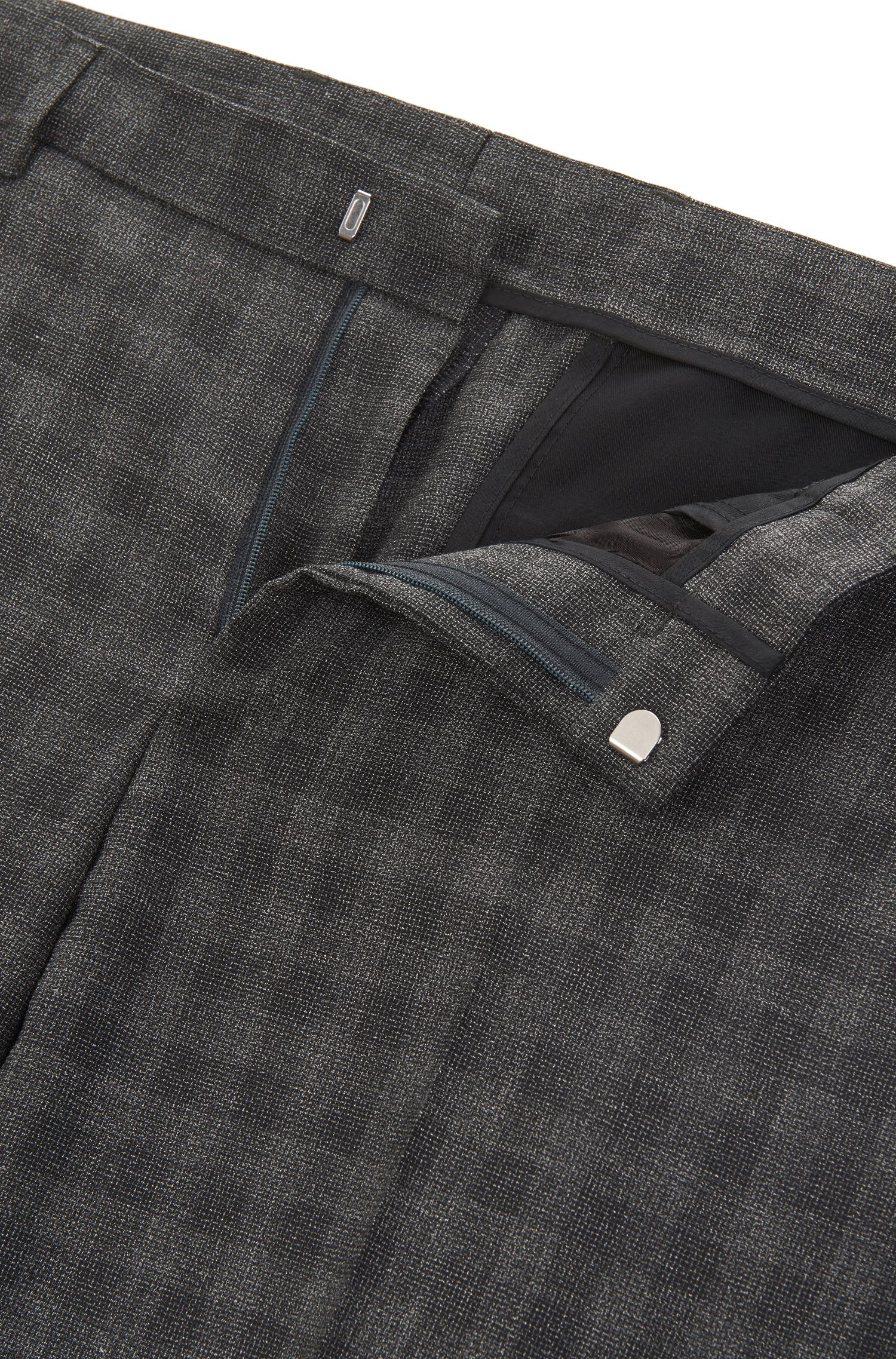 Karierter Slim-Fit Anzug aus Schurwoll-Mix mit Baumwolle
