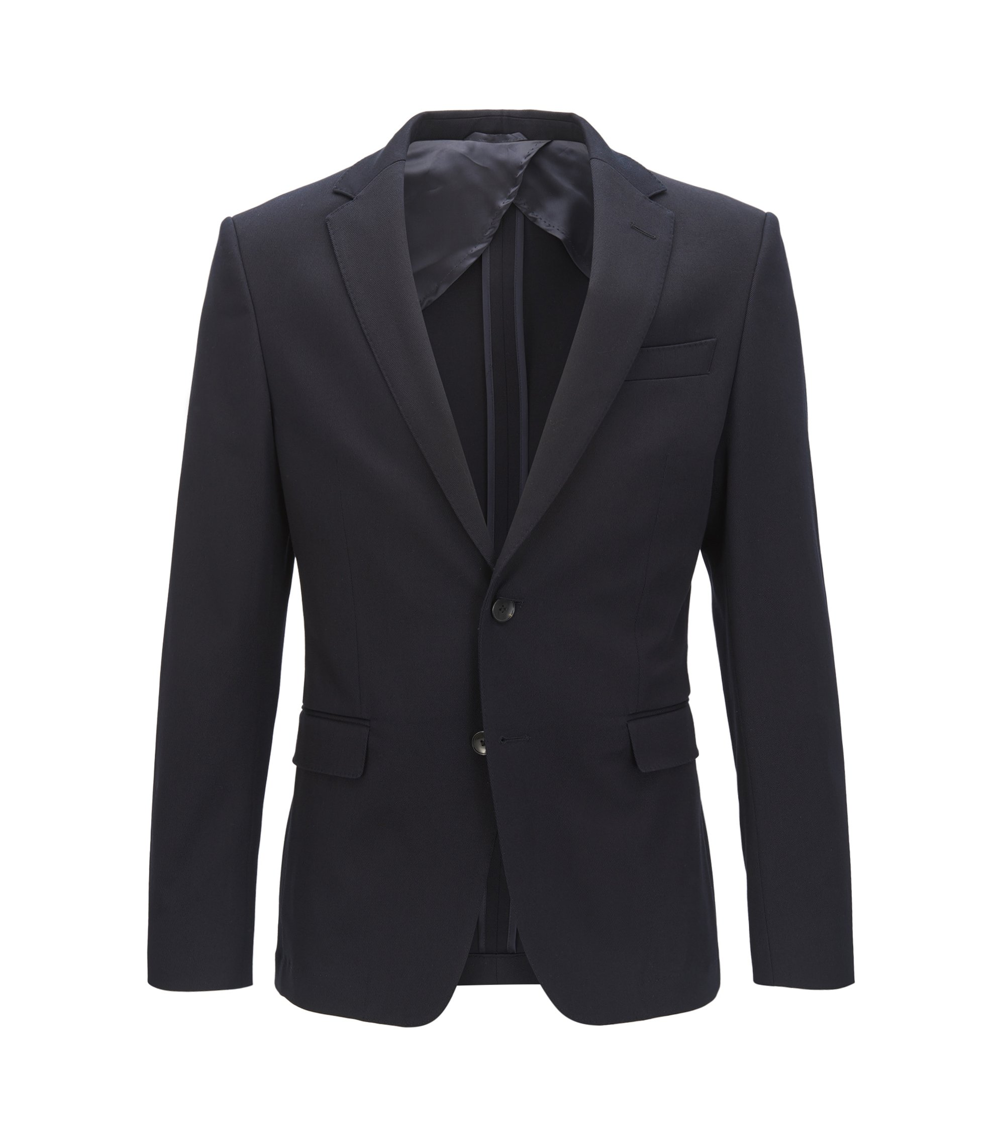 Slim-fit suit jacket in stretch cotton with AMF stitching, Dark Blue