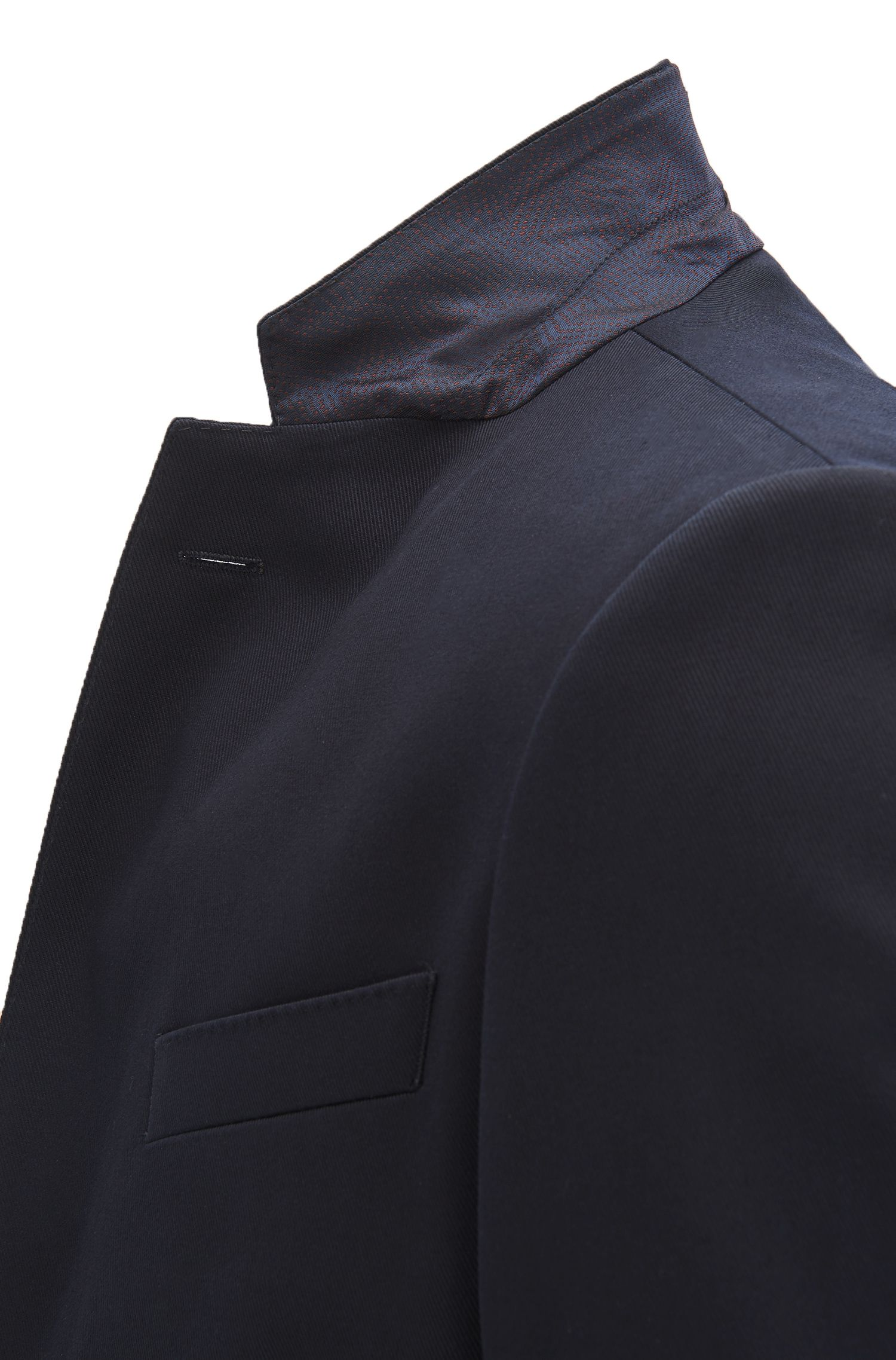 Slim-fit suit jacket in stretch cotton with AMF stitching