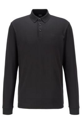 Longsleeve-Poloshirt aus Interlock-Baumwolle, Schwarz