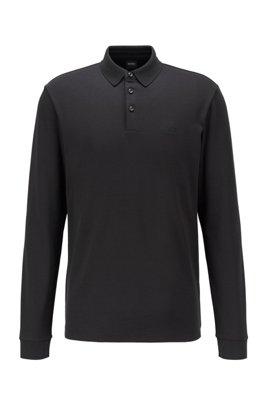 Poloshirt met lange mouwen van dubbelgebreide katoen, Zwart