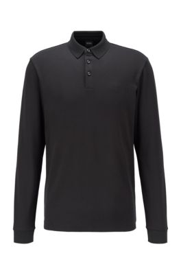 Long-sleeved polo shirt in interlock cotton, Black