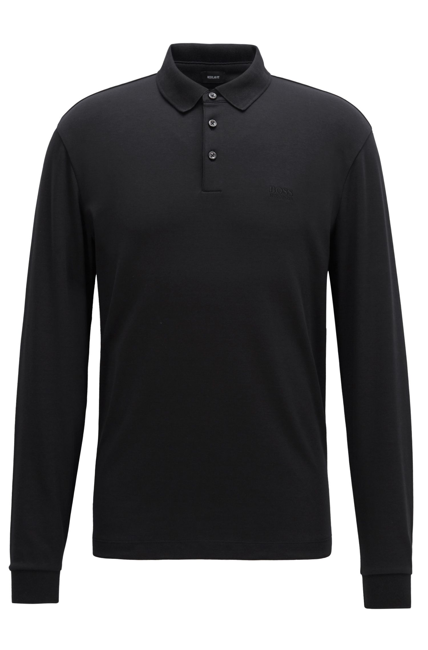 Long-sleeved polo shirt in interlock cotton, Black