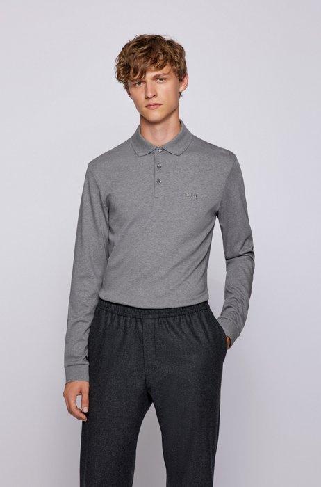Polo à manches longues en coton interlock, Gris