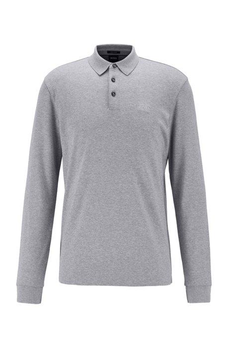 Poloshirt met lange mouwen van dubbelgebreide katoen, Zilver