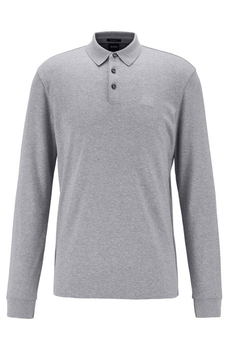 Long-sleeved polo shirt in interlock cotton, Silver