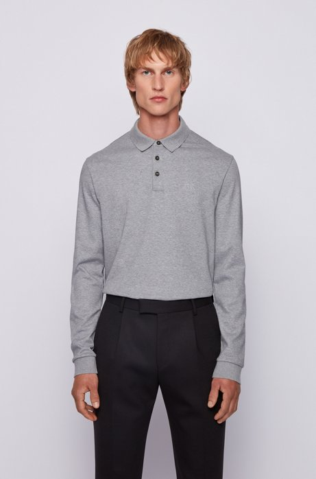Longsleeve-Poloshirt aus Interlock-Baumwolle, Silber