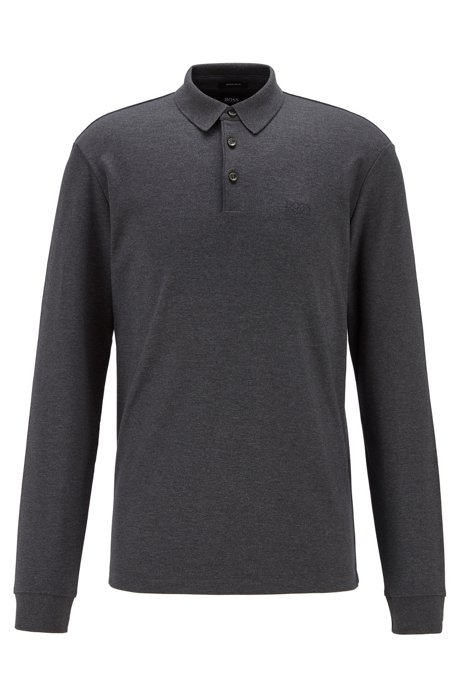 Long-sleeved polo shirt in interlock cotton, Dark Grey