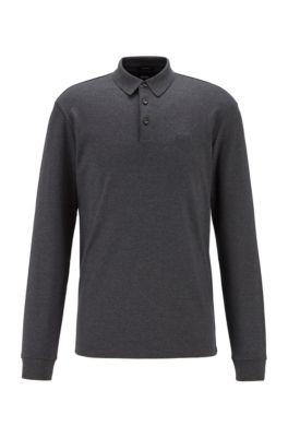 Longsleeve-Poloshirt aus Interlock-Baumwolle, Dunkelgrau