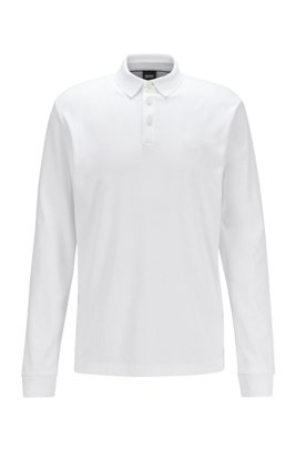 Longsleeve-Poloshirt aus Interlock-Baumwolle, Weiß