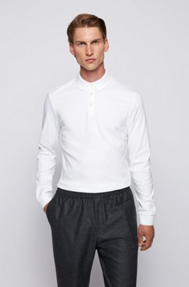 Long-sleeved polo shirt in interlock cotton, White