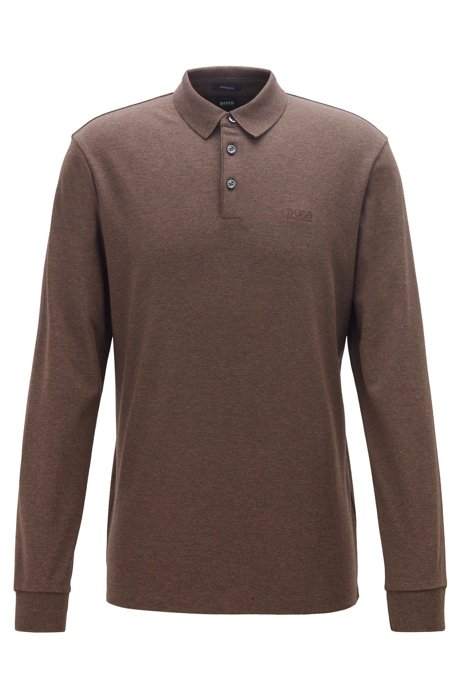 Long-sleeved polo shirt in interlock cotton, Dark Brown