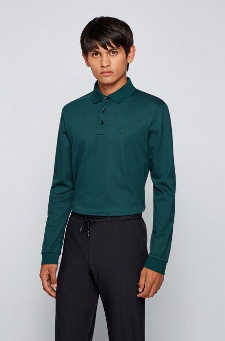 Polo à manches longues en coton interlock, Vert sombre