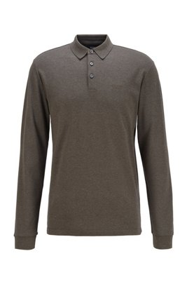 Long-sleeved polo shirt in interlock cotton, Light Green