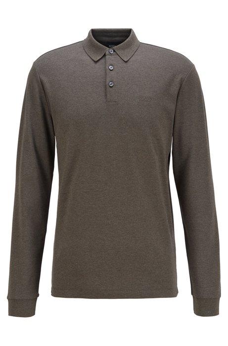Longsleeve-Poloshirt aus Interlock-Baumwolle, Hellgrün