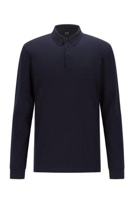 Long-sleeved polo shirt in interlock cotton, Dark Blue