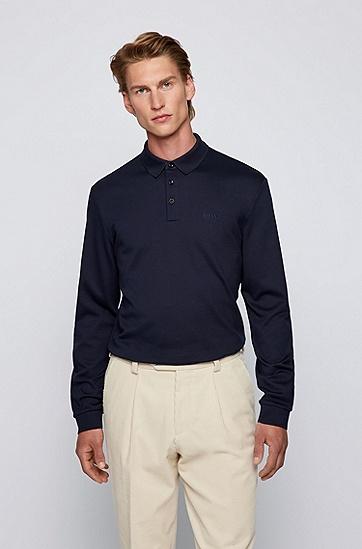 长袖棉毛 Polo 衫,  402_Dark Blue