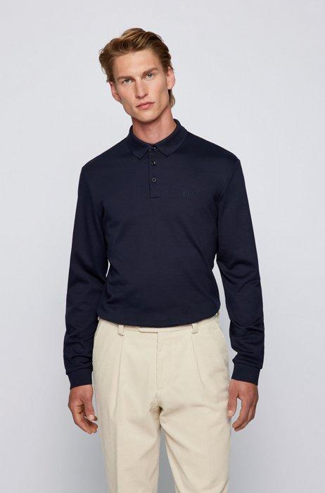 Polo à manches longues en coton interlock, Bleu foncé