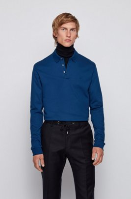 Long-sleeved polo shirt in interlock cotton, Dark Blue