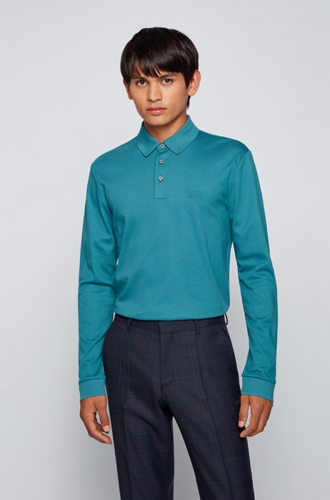 Polo à manches longues en coton interlock, Turquoise