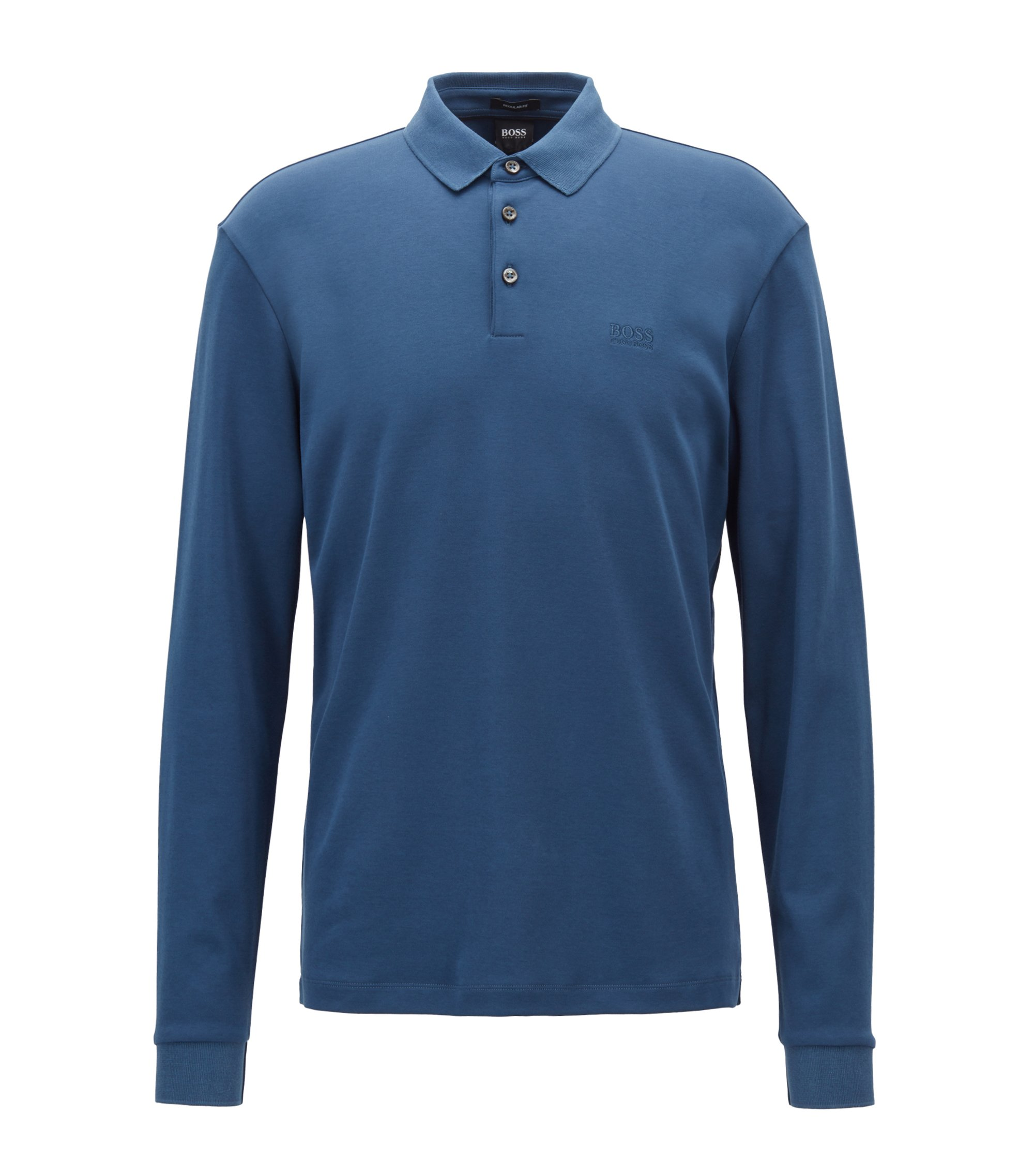 Long-sleeved polo shirt in interlock cotton, Blue