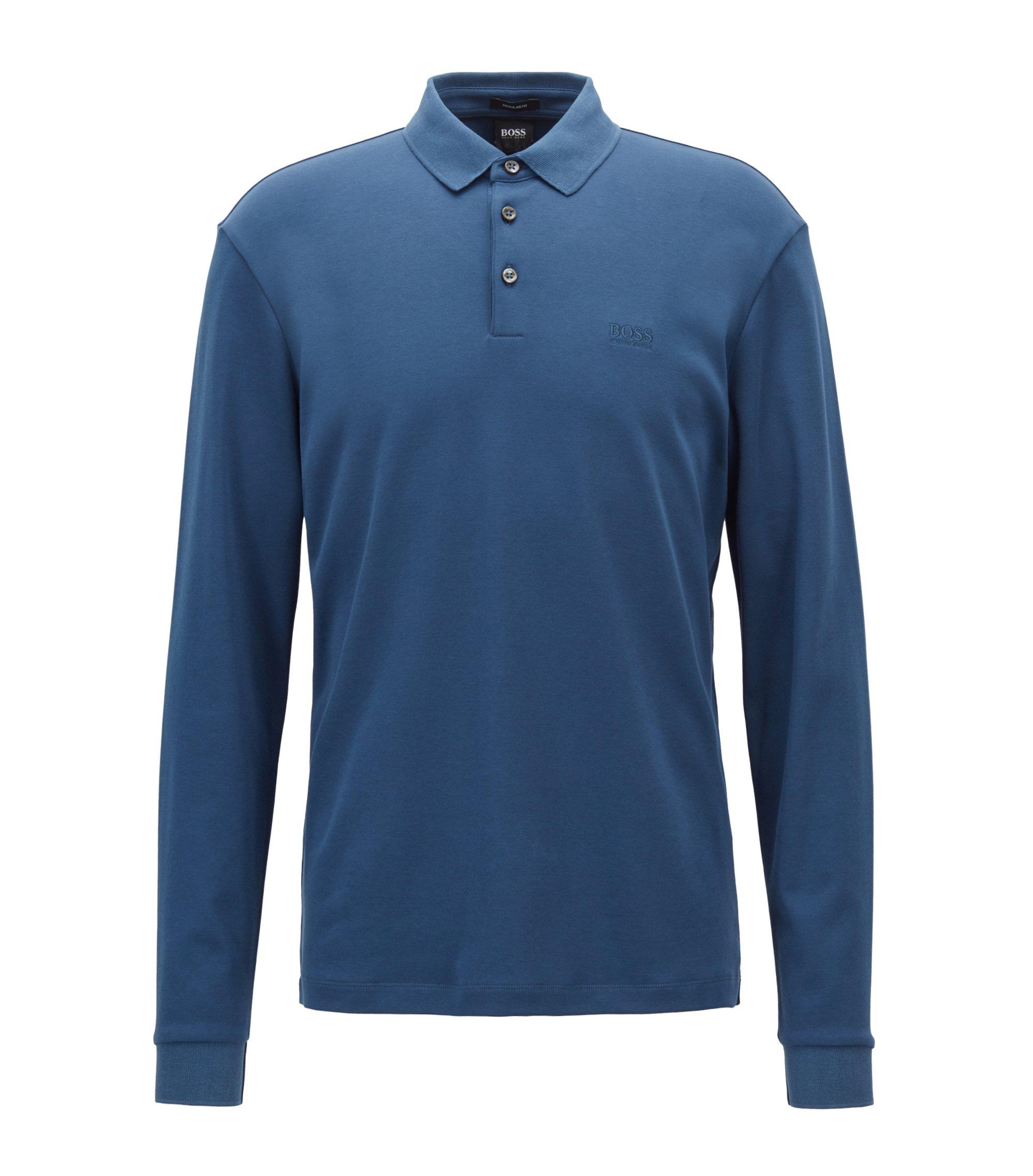 Poloshirt met lange mouwen van dubbelgebreide katoen, Blauw
