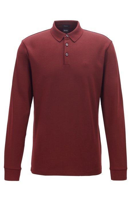 Long-sleeved polo shirt in interlock cotton, Dark Red