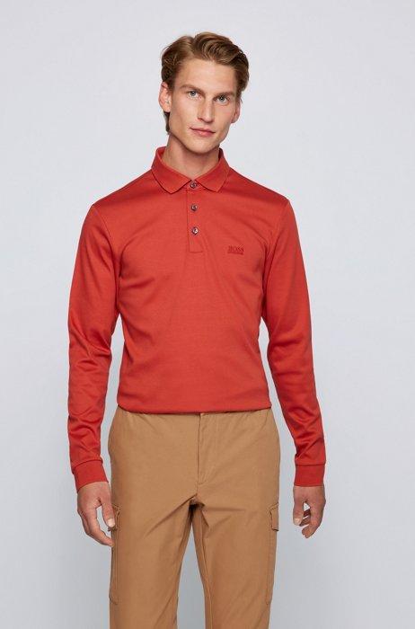 Polo à manches longues en coton interlock, Rouge