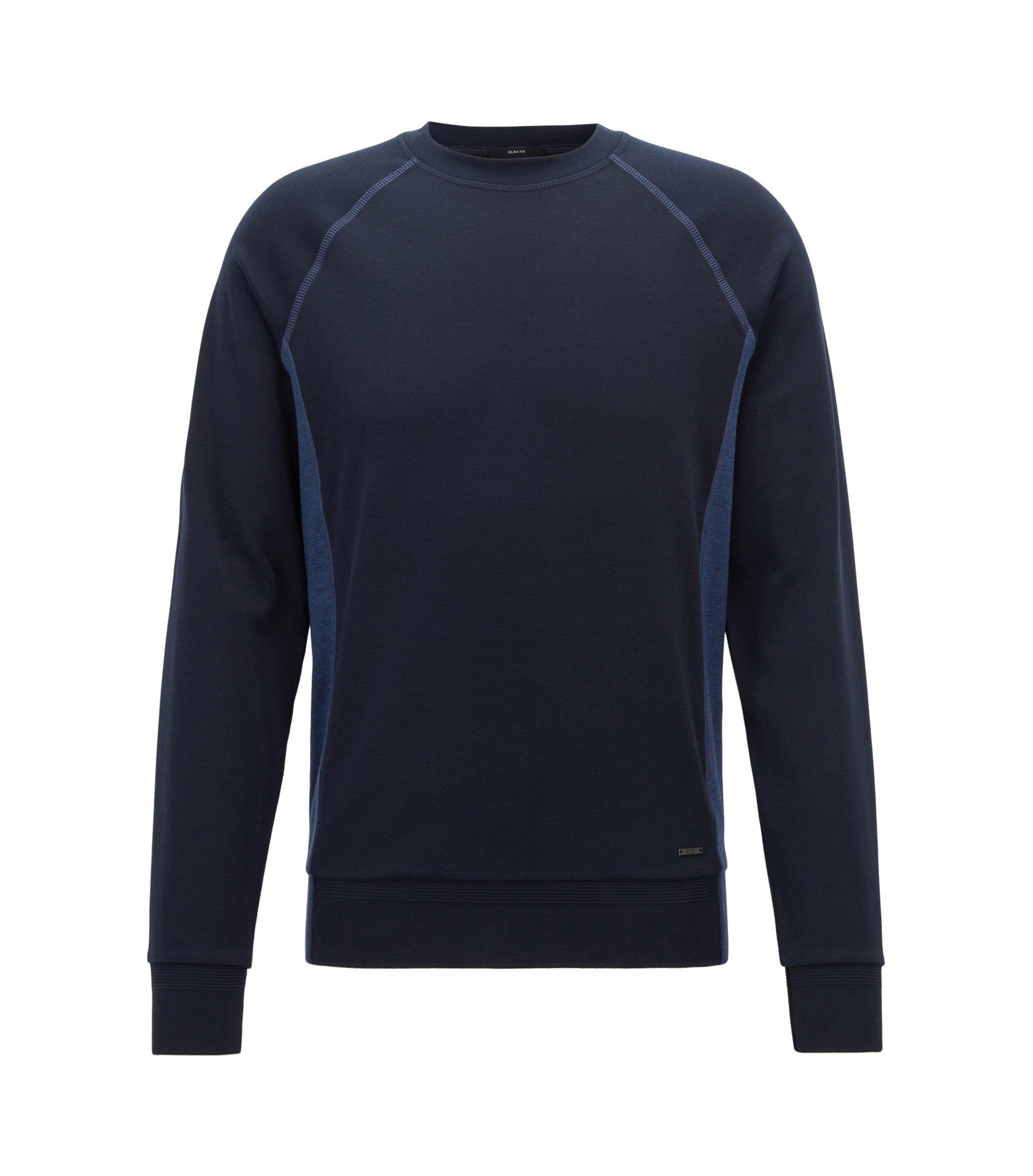 Sudadera slim fit de algodón con textura y detalles en bloques de color, Azul oscuro